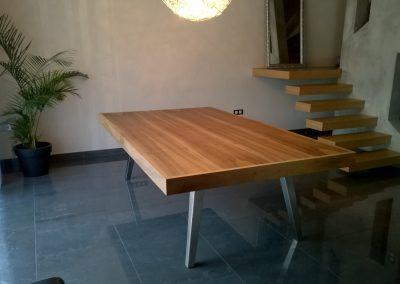 PLATEAU DE TABLE NOYER AVEC RALLONGE VUE FERME - EBENISTERIE MAS D EBENE